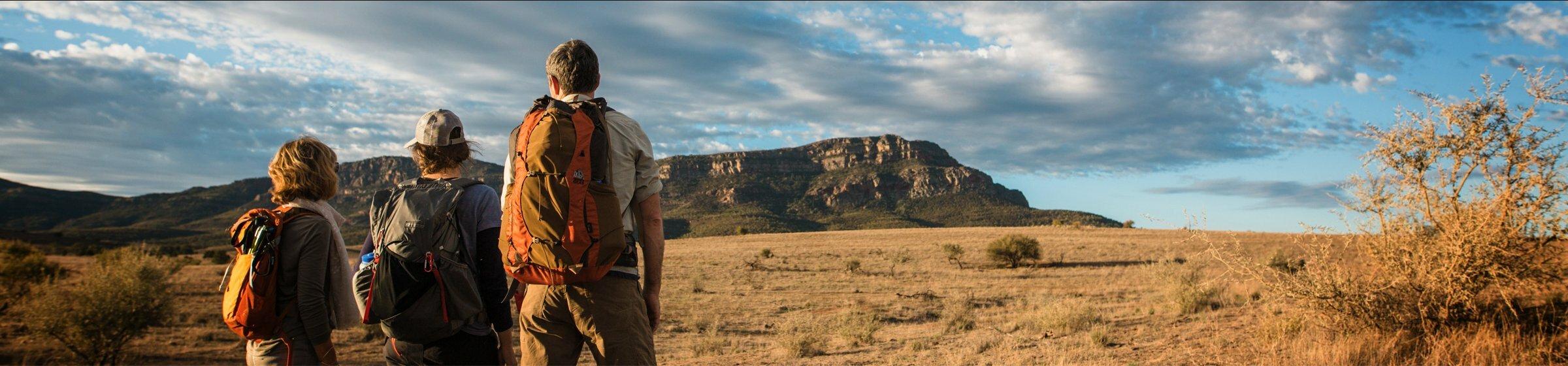 Group of walkers hiking in the Flinders Ranges in South Australia