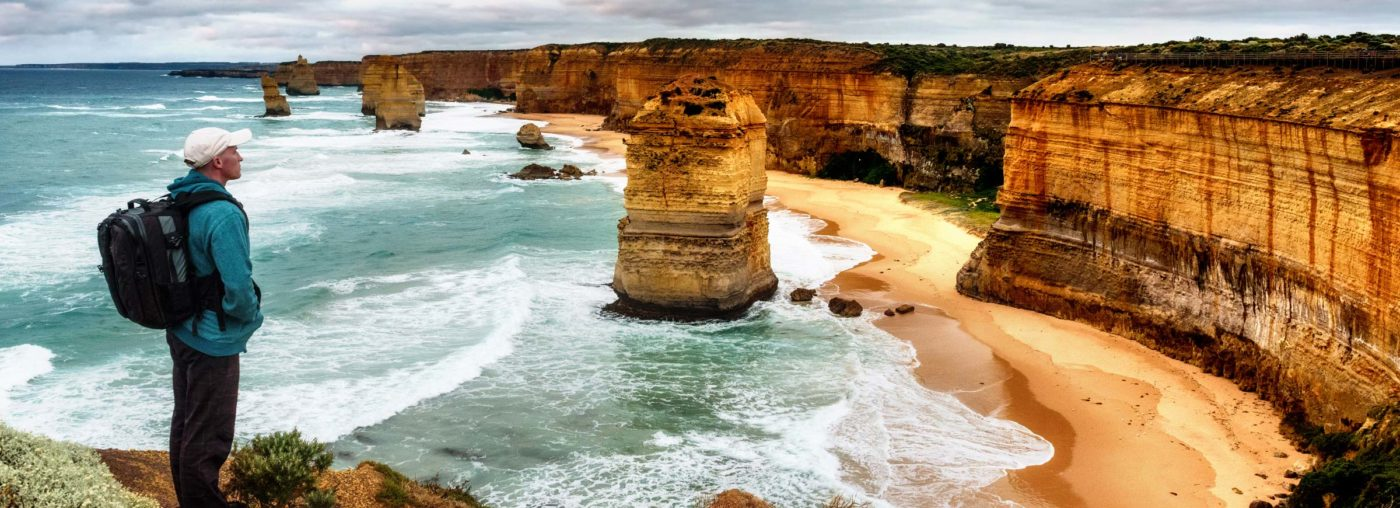 Great Ocean Walks Tour Hiker at 12 Apostles