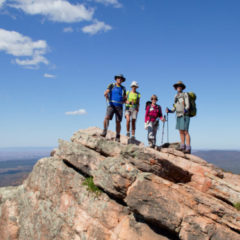 Flinders Ranges Walking Tour Hikers with view at Rawnsley Bluff