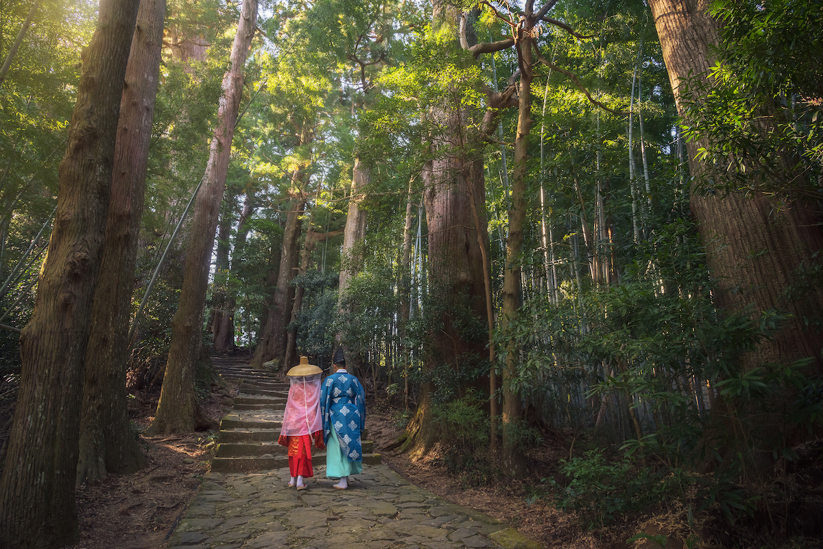 Pilgrims on the Kumano kodo walk