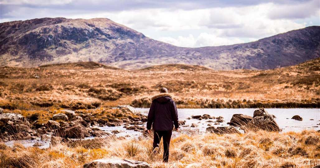 Hiker slow travelling in Scotland